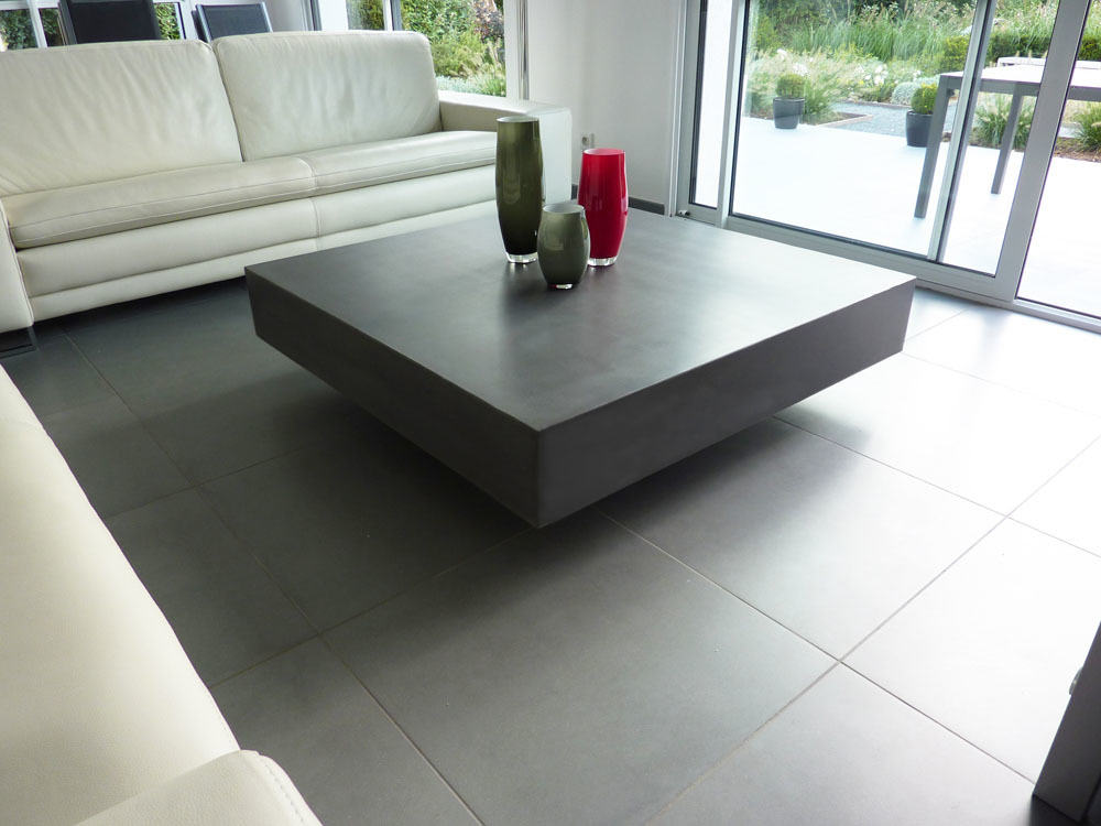 Table basse design en b ton cir h lium mobilier en b ton cir - Table en beton cire ...
