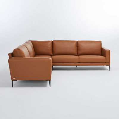 Cognac leather high-end corner sofa made in France