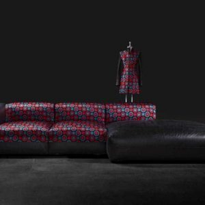 HIgh end designer haut couture sofa in silk and leather