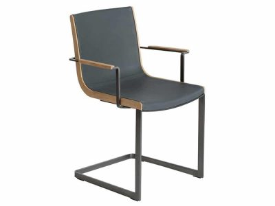 Sleek designer chair leather and metal base