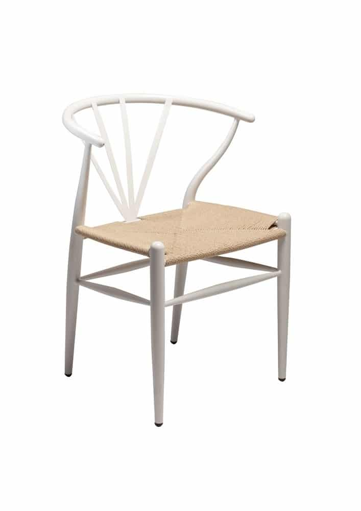 Scandinavian Design Chair In White Metal And Rattan