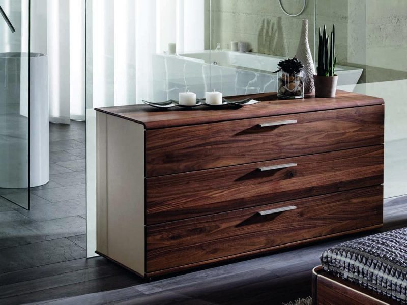Walnut designer chest of drawers