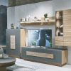 Modern luxurious tv unit in walnut and oak