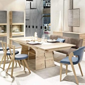 Oak designer table and modern dining set cabinet and highboard