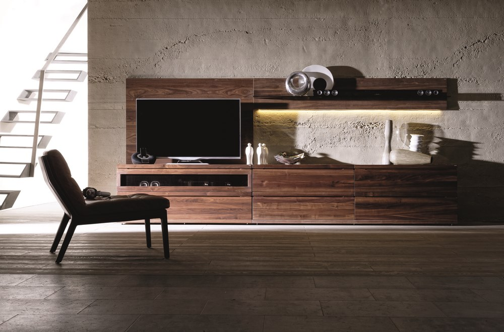 Designer entertainment unit in oak or walnut