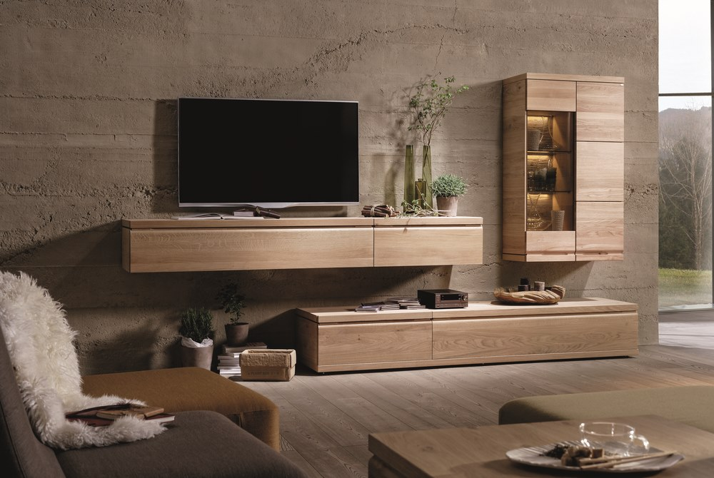 designer entertainment unit in oak or walnut. Black Bedroom Furniture Sets. Home Design Ideas